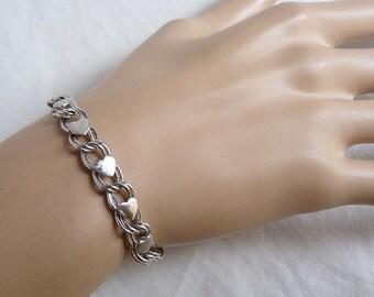 Vintage Sterling Heart Link Chain & Locket Bracelet