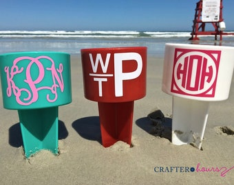 Monogrammed Beach Spiker Drink Holder, one-color design - Great for wedding parties, beach weekends, family reunions and more!