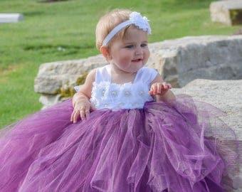 Flower girl dress - Tulle flower girl dress - Plum Dress - Tulle dress-Infant/Toddler - Pageant dress - Princess dress - Plum flower dress