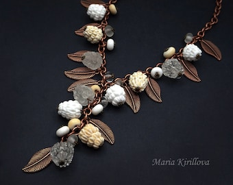 Winter Berries Glass Necklace, lampwork jewelry, murano glass, flamework, for her, white, raspberries, copper, nature, leaves, glass berry