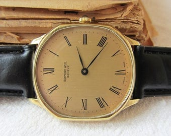 Rare Swiss Made Watch Raymond Well Geneve Gold Plated Working Men's Watch Reto watch Collectible Watch Swiss Watch Old Vintage watch Gold