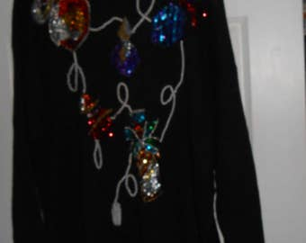 JACQUE & KOKO Sweater Pullover Vintage Sequin Pearl Bling Perfume Bottles Black Plus 22 24