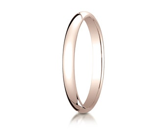 2.5MM Wide Domed 14K Rose Gold Men's or Women's Basic Wedding Ring with Custom Engraving Half Round Classic Style