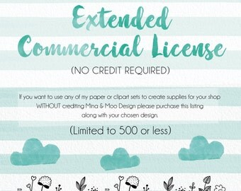 Extended Commercial License Add-On, No Credit Required, Limited Small Business Commercial Use License for Clip Art and Digital Paper