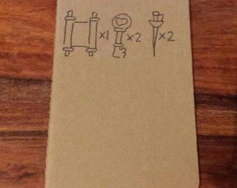Hand Drawn Bioshock Infinite Moleskine Ruled Journal, Small, Black on Brown.
