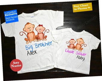 Brother and Sister Shirts, brother sister shirts, coordinating sibling outfits, Monkey theme brother sister outfits, brother sister outfits