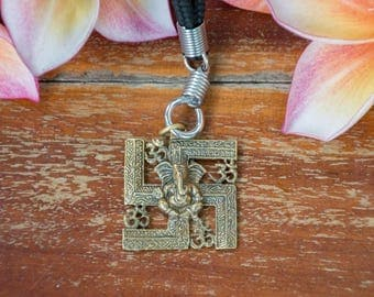 Ganesha Swastika Om blackened brass pendant Ganesha Hindu deity necklace