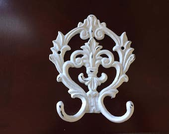 Fleur De Lis double hook, white, distressed, cast iron,  Shabby chic Regency