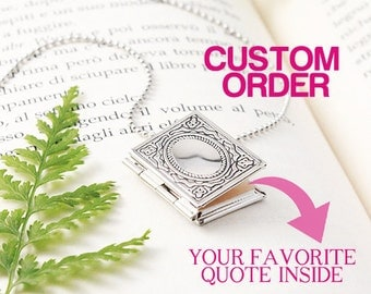 Personalized Book Locket Necklace, Personalized Book Necklace, Personalized Necklace, Miniature Book Necklace, Secret Message Personalized