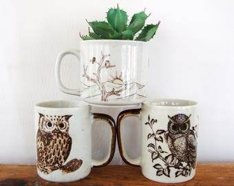 ON SALE Vintage Owl Mug Set of 3 Stoneware Mugs Instant Collection of Coffee Cups