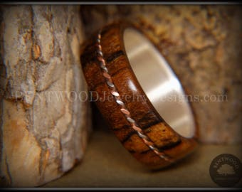 Bentwood Ring - Spalted Maple Wood Ring on Fine Silver Core with Silver and Copper Twist Inlay