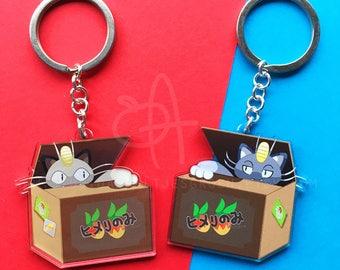 "Pokemon Fruit Boxes - Meowth + Alola Meowth | 2"" Acrylic Clear Charm double sided"