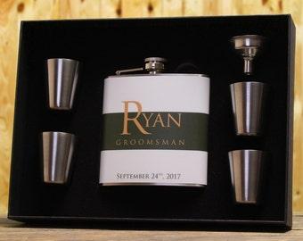 Green Wedding, Groomsman Gift, Personalized Flask