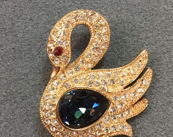 Pretty Rhinestone Swan Brooch with Blue and Red Accents. Free shipping