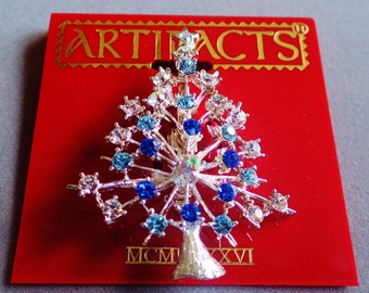 JJ Jonette Silver Christmas Tree With Clear, Baby and Royal Blue Rhinestones