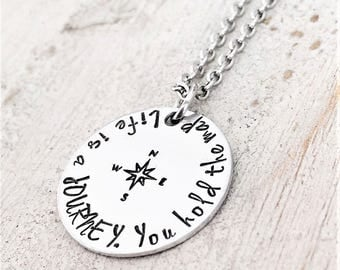 Personalized Graduation Gift - Inspirational Graduation Necklace - For Her - Compass Jewelry - College Graduation - High School Graduation