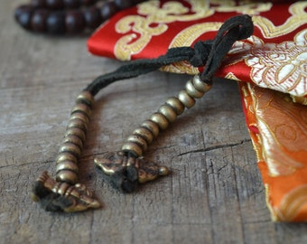 Mantra mala counter brass leather bell and Dorje charms Tibetan Buddhist Buddhism meditation rosary prayer counter