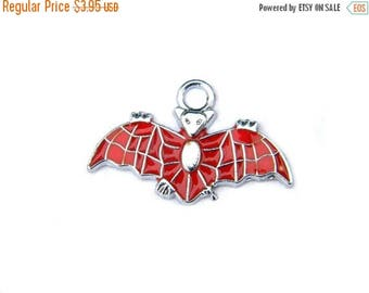 HALF PRICE 6 Enamelled Flying Bat Charms -  Halloween Charms