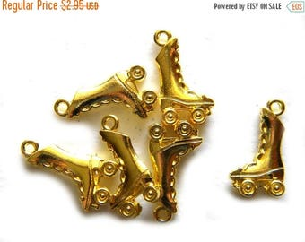 HALF PRICE 10 Gold Plated Roller Skate Charms
