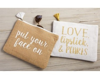 Put Your Face On-Love Lipstick & Pearls-Put Your Face On Cosmetic Bag-Brides-Bridal-Southern Wedding-Makeup Bag-Mud Pie Cosmetic Bag-Gifts