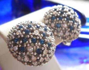 Ciner Earring Sapphire Blue Clear Rhinestone pave' Set Earrings Vintage Clip on Dome Cluster Earrings Hollywood Regency Mid Century