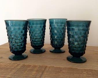 Set of 4 Vintage Blue Fostoria Iced Tea Glasses