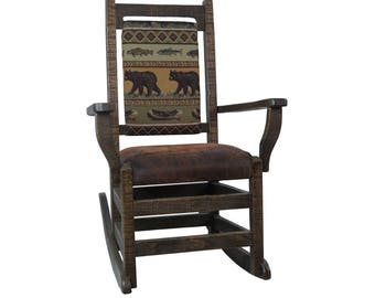 Solid Barnwood Amish Rocking Chair with Upholstered Seat & Back