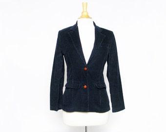 vintage 70s Wrangler dark blue corduroy blazer jacket coat