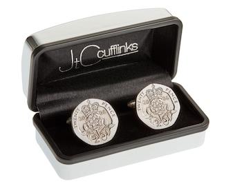 2006 coin cufflinks mens 10th wedding anniversary gift (tin / white steel) in 2016