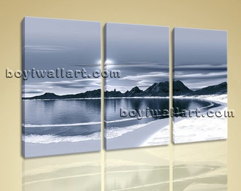 Large Seascape Painting Contemporary Beach Hd Print Bedroom Three Pieces Canvas, Large Beach Wall Art, Bedroom,