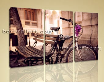 Large Urban Vintage Others Painting Bedroom Three Panels Giclee Print, Large others Wall Art, Bedroom, Tawny Port