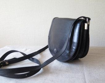 Vintage Leather Handbag Genuine Leather Black Shoulder Crossover Bag with Long Strap, 4 inner compartments Marc Foret Paris Florence @203