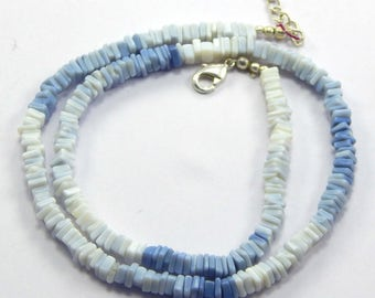 25% OFF  76.05 carat approx 4-5 mm 18 '' Heishi beads Natural Blue Opal Gemstone hishi Beads Strands necklace