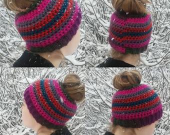 Messy Bun Hat, Ponytail Beanie, Ready to Ship, Handmade Crochet Messy Bun Beanie, Knit Pony tail Hat