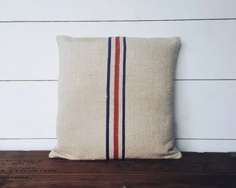 Reclaimed Grain Sack Pillow Cover - Home Decor