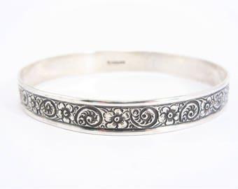 Vintage Sterling Bangle Bracelet Floral Swirl Design
