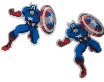 Acrylic Pin Brooches Blue Captain America