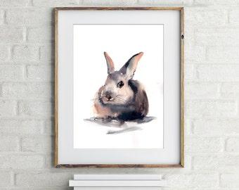 Painting of Rabbit, ORIGINAL watercolor painting, nursery wall art, Bunny Painting, watercolour art