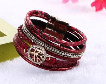 Boho multi Wrap Bracelet, Wrap Bracelet,Red bracelet