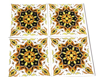 Ceramic Sticker Tiles, Ceramic Tiles, Ceramic Wall Art, Yellow Ceramic Tile, Bohemian Wall Tapestry, Ceramic Wall Tile, Sticker Tile, Tile