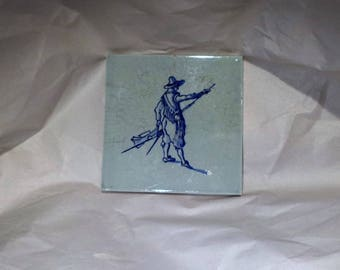 Delft Tile, Blue and White Soldier with Musket, Hand Painted Dutch Antique Tile