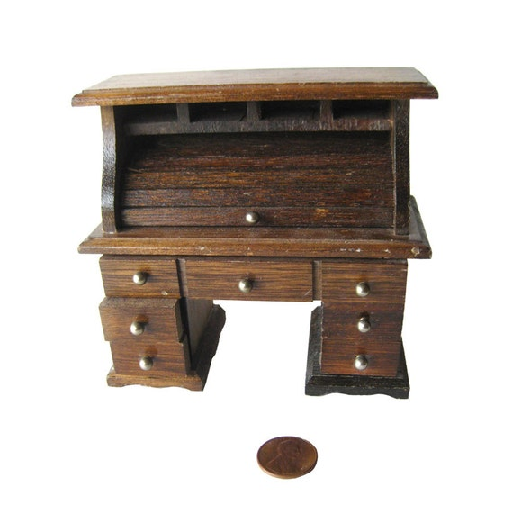 Dollhouse Rolltop Desk from Openslate Collectibles on Etsy