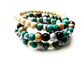 Wooden Bracelets Set 3 Pieces Beaded Bohemian Bracelets, Wood Green White Gray Silver Color Jewelry Mala Boho Vintage Bohemian Eco Friendly