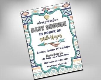 Baby Shower, Baby Shower Invitation, Aztec Baby Shower Invitation, Arrows Baby Shower Invitation, Arrows, Baby Shower Invite