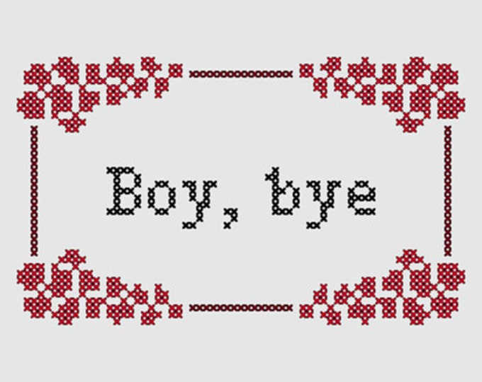 Cross stitch pattern 'Boy, bye' - inspired by the Women's March on Washington