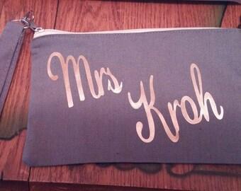 Mrs Zipper Pouch Bag/Purse/Makeup bag for New Bride