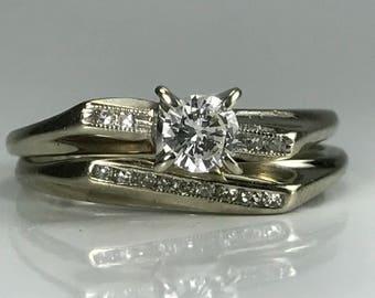 Vintage Diamond Engagement Ring. Vintage Wedding Band. Gold Wedding Ring Set. 14K White Gold. Unique Engagement Ring. Estate Jewelry.