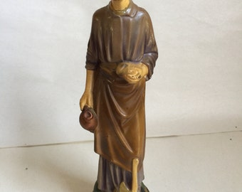 Antique Early St Joseph wooden statue Holding bread wine jug and ax Made in Italy Religious home decor shrine alter worship tool