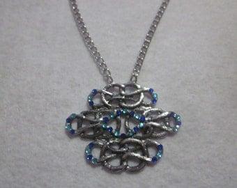 Blue Rhinestone Pendant Necklace.