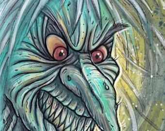 Original Painting - Baba Yaga - Witch Folktale Horror Creepy 6x9 inches